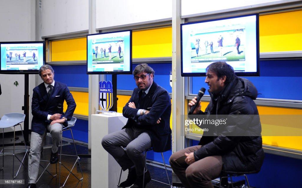 Alberto Di Chiara (L) of Parma Radio, Pietro Leonardi (C) general manager of Parma FC and Sandro Melli team manager of Parma FC attend an event to unveil the FC Parma centenary logo at Stadio Ennio Tardini on February 27, 2013 in Parma, Italy.