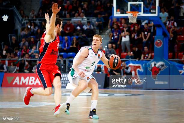 Alberto Diaz #9 of Unicaja Malaga in action during the 2017/2018 Turkish Airlines EuroLeague Regular Season Round 11 game between Baskonia Vitoria...