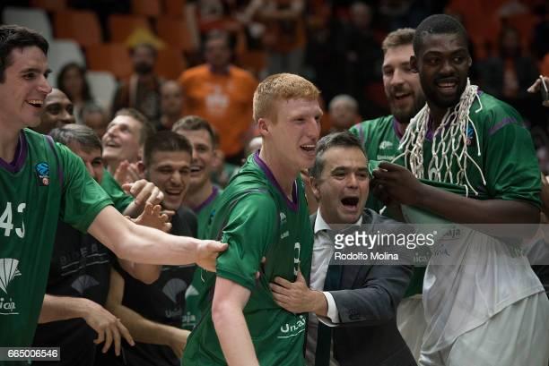 Alberto Diaz #9 of Unicaja Malaga MVP of the final celebrates at the end of the 20162017 7Days Eurocup Finals Leg 3 Valencia Basket v Unicaja Malaga...