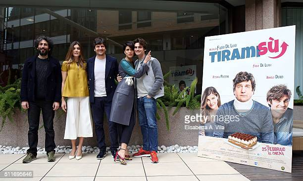 Alberto Farina Vittoria Puccini Fabio De Luigi Gulia Bevilacqua and Angelo Duro attend 'Tiramisu' photocall at Visconti Palace on February 22 2016 in...