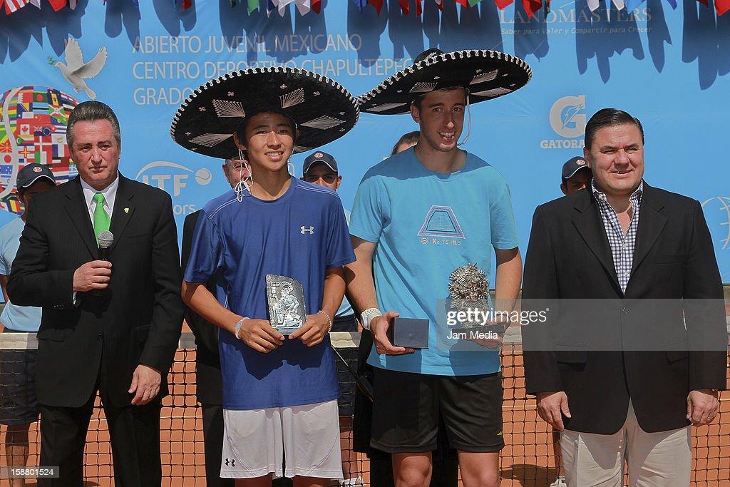 Alberto Garduno, Director of Deportivo Chapultepec, Naoki Nakawaga of Japon, Nikola Milojevic of Serbia and Jesus Mena Director of Conade, during the Mexican Youth Tennis Open at Deportivo Chapultepec on December 29, 2012 in Mexico City, Mexico.