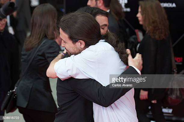 Alberto Garzon and Pablo Iglesias attend 'Ortega Y Gasset' journalism awards 2016 at Palacio de Cibeles on May 05 2016 in Madrid