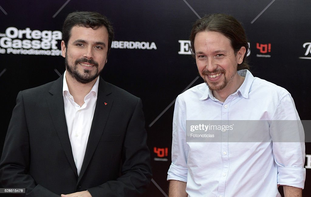 Alberto Garzon and Pablo Iglesias attend the El Pais 40th anniversary dinner and 'Ortega y Gasset' awards ceremony at the Palacio de Cibeles on May 5, 2016 in Madrid, Spain.