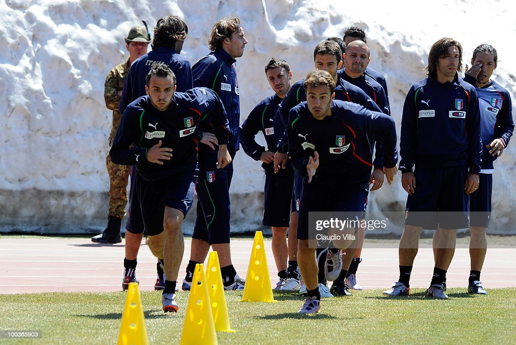 Alberto Gilardino and Giampaolo Pazzini of Italy during the Italy Training Session on May 24, 2010 in Sestriere near Turin, Italy.