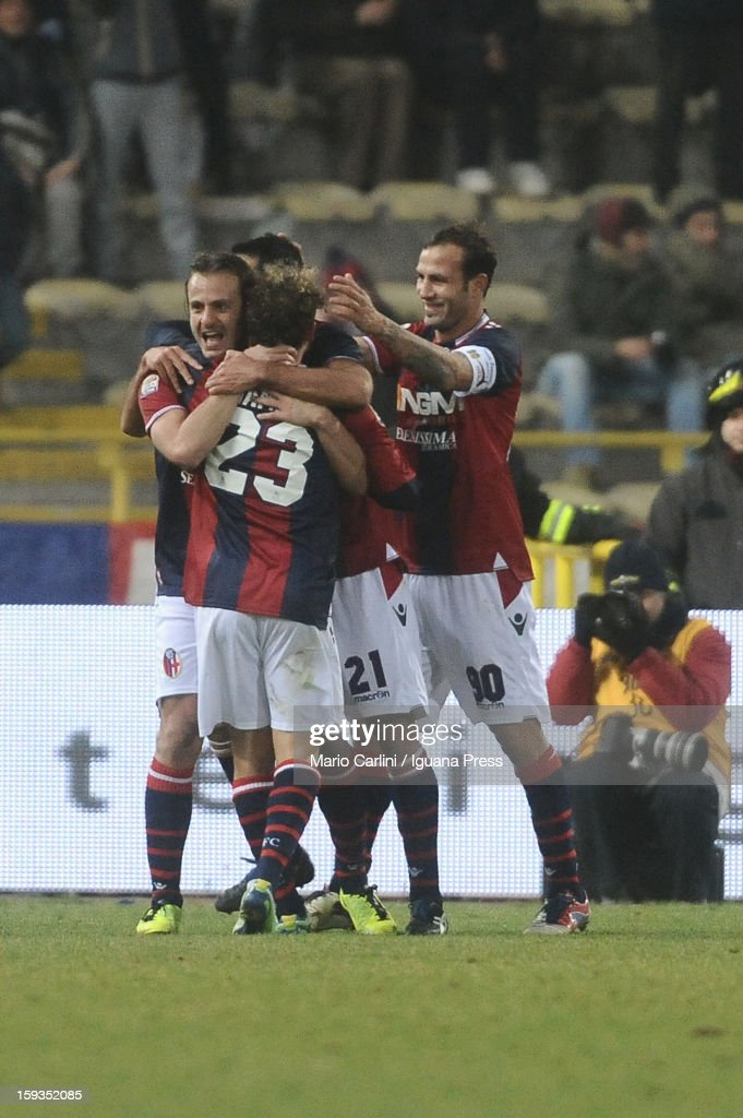 <a gi-track='captionPersonalityLinkClicked' href=/galleries/search?phrase=Alberto+Gilardino&family=editorial&specificpeople=215491 ng-click='$event.stopPropagation()'>Alberto Gilardino</a> celebrates after scoring his team's third goal during the Serie A match between Bologna FC and AC Chievo Verona at Stadio Renato Dall'Ara on January 12, 2013 in Bologna, Italy.