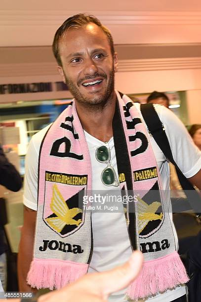 Alberto Gilardino new player of US Citta' di Palermo arrives at FalconeBorsellino airport on August 28 2015 in Cinisi near Palermo Italy