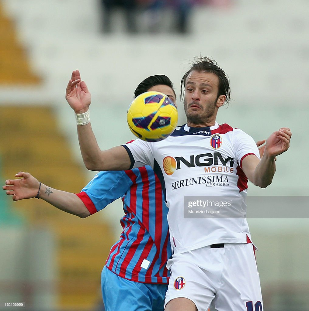 <a gi-track='captionPersonalityLinkClicked' href=/galleries/search?phrase=Alberto+Gilardino&family=editorial&specificpeople=215491 ng-click='$event.stopPropagation()'>Alberto Gilardino</a> of Bologna during the Serie A match between Calcio Catania and Bologna FC at Stadio Angelo Massimino on February 17, 2013 in Catania, Italy.