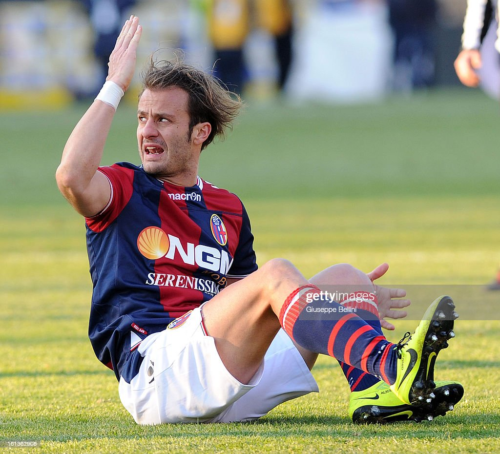 <a gi-track='captionPersonalityLinkClicked' href=/galleries/search?phrase=Alberto+Gilardino&family=editorial&specificpeople=215491 ng-click='$event.stopPropagation()'>Alberto Gilardino</a> of Bologna reacts during the Serie A match between Bologna FC and AC Siena at Stadio Renato Dall'Ara on February 10, 2013 in Bologna, Italy.