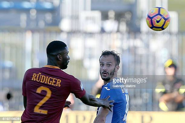 Alberto Gilardino of Empoli Fc for the ball with Antonio Rudiger of AS Roma during the Serie A match between Empoli FC and AS Roma at Stadio Carlo...
