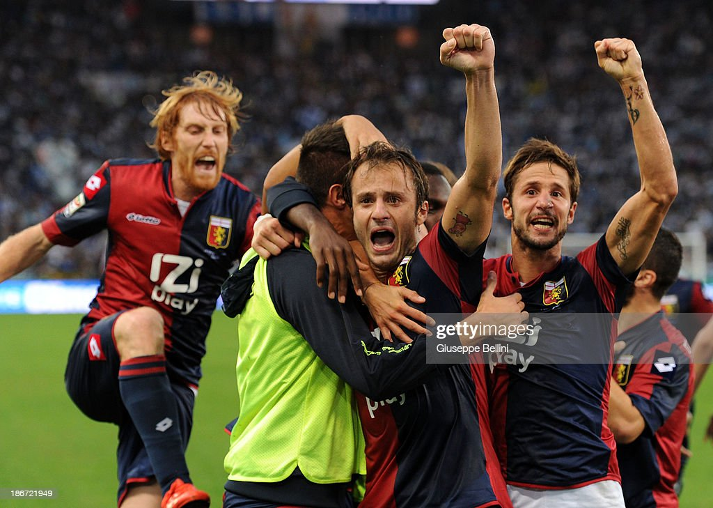 Alberto Gilardino (C) of Genoa celebrates after scoring the second goal from the penalty spot during the Serie A match between S.S. Lazio and Genoa CFC at Stadio Olimpico on November 3, 2013 in Rome, Italy.