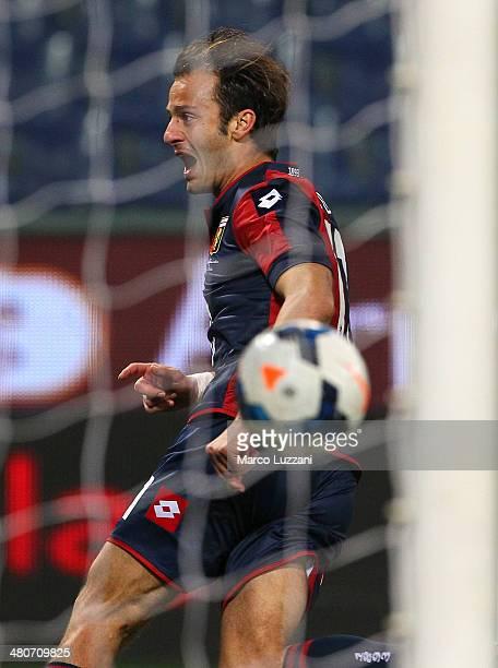 Alberto Gilardino of Genoa CFC celebrates after scoring the opening goal during the Serie A match between Genoa CFC and SS Lazio at Stadio Luigi...