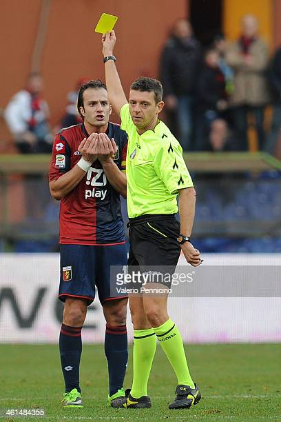 Alberto Gilardino of Genoa CFC receives the yellow card from referee Gianluca Rocchi during the Serie A match between Genoa CFC and US Sassuolo...