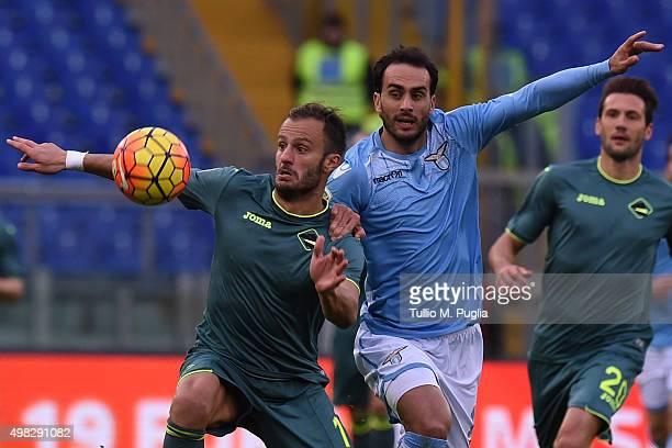Alberto Gilardino of Palermo and Santiago Gentiletti of Lazio compete for the ball during the Serie A match between SS Lazio and US Citta di Palermo...