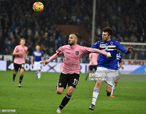 Alberto Gilardino of Palermo and Vasco Regini of Sampdioria compete for the ball during the Serie A match between UC Sampdoria and US Citta di...