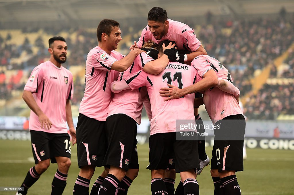 Alberto Gilardino of Palermo celebrates after scoring the opening goal during the Serie A match between Carpi FC and US Citta di Palermo at Alberto Braglia Stadium on January 30, 2016 in Modena, Italy.