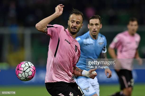 Alberto Gilardino of Palermo in action during the Serie A match between US Citta di Palermo and SS Lazio at Stadio Renzo Barbera on April 10 2016 in...