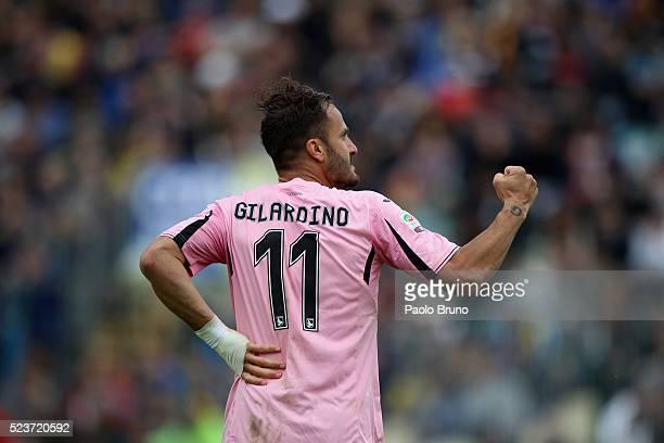 Alberto Gilardino of US Citta di Palermo celebrates after scoring the opening goal during the Serie A match between Frosinone Calcio and US Citta di...