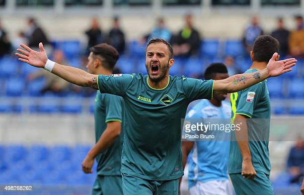 Alberto Gilardino of US Citta' di Palermo gestures during the Serie A match between SS Lazio and US Citta di Palermo at Stadio Olimpico on November...