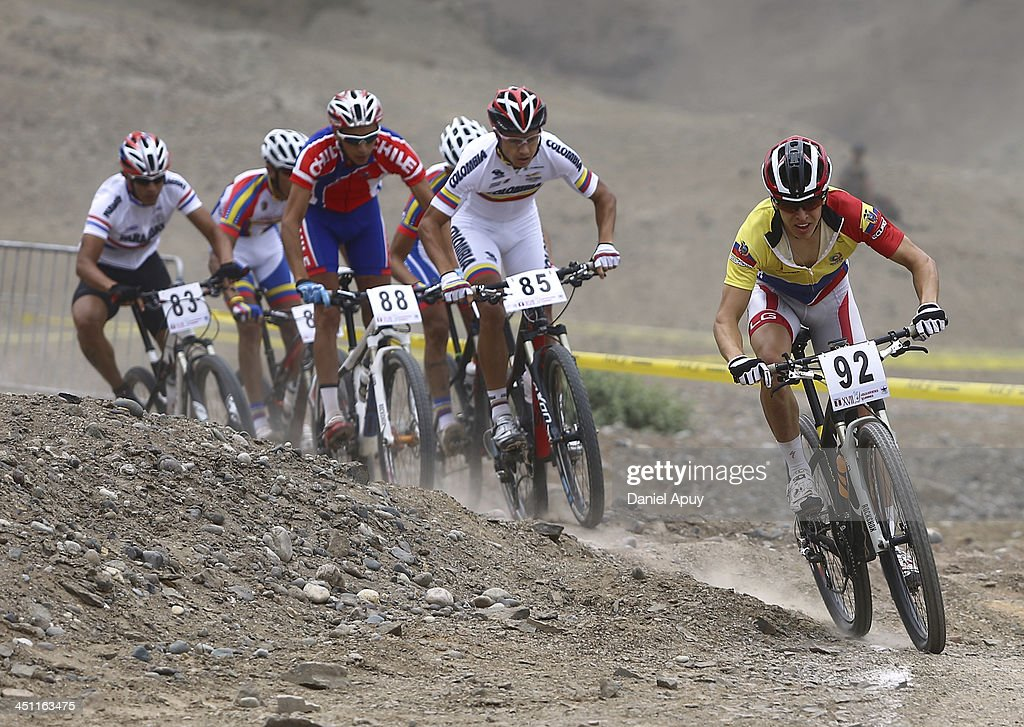 Alberto Gonzales of Ecuador, Fabio Castaneda of Colombia and Patricio Fariaz of Chile during the Cross Country Bike Men finals as part of the XVII Bolivarian Games Trujillo 2013 at Morro Solar on November 21, 2013 in Lima, Peru. (Photo by Daniel Apuy/LatinContent/Getty ImagesLIMA, PERU - NOVEMBER 21: Alberto Gonzalez of Ecuador, Fabio Castaneda of Colombia and Patricio Fariaz of Chile during the Cross Country Bike Men finals as part of the XVII Bolivarian Games Trujillo 2013 at Morro Solar on November 21, 2013 in Lima, Peru.