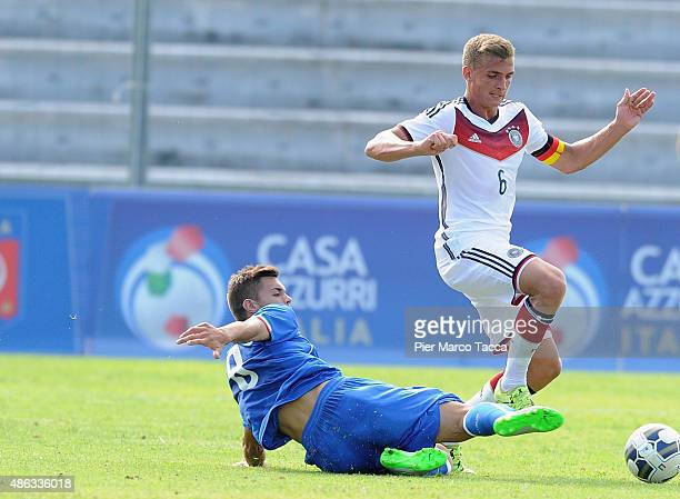 Alberto Grassi of Italy competes for the ball with Grischa Promel of Germany during the match between U20 Italy and U20 Germany on September 3 2015...