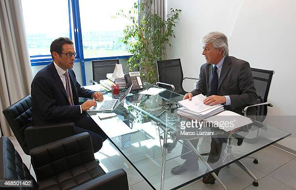 Alberto Guiotto and Angelo Anedda before a press conference at the club's training ground on April 3 2015 in Collecchio Italy