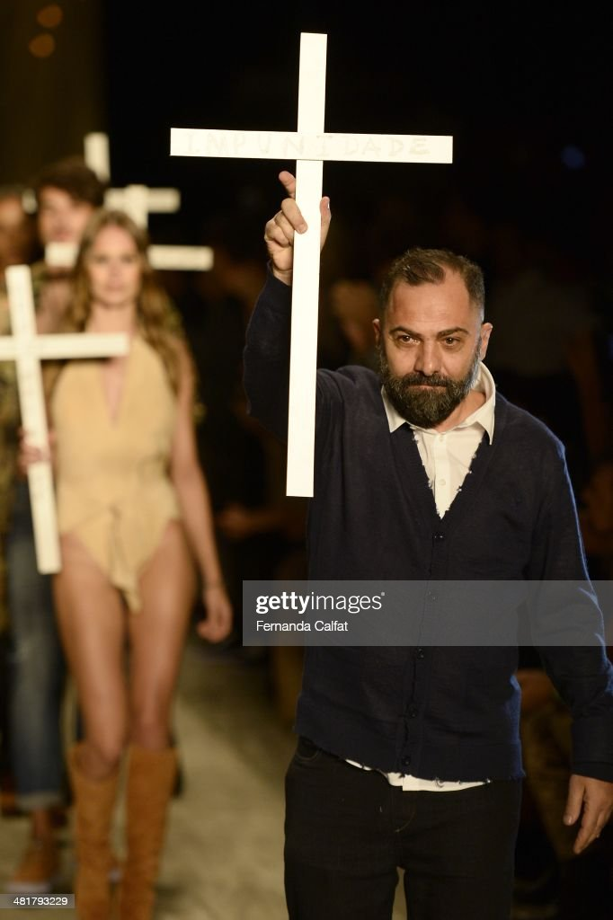 Alberto Hiar walks the runway during Cavalera show at Sao Paulo Fashion Week Summer 2014/2015 at Parque Candido Portinari on March 31, 2014 in Sao Paulo, Brazil.
