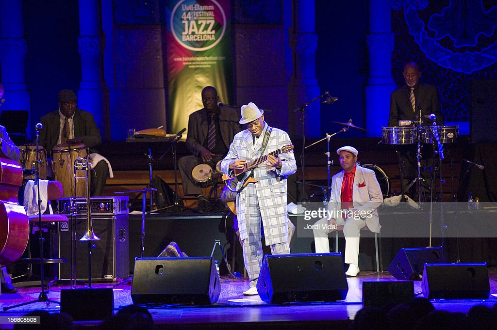 Alberto La Noche, Angel Terry, Papi Oviedo, Carlos Calunga and Filiberto Sanchez of Orquesta Buena Vista Social Club perform on stage during Voll-Damm Festival Internacional de Jazz de Barcelona at Palau De La Musica on November 21, 2012 in Barcelona, Spain.