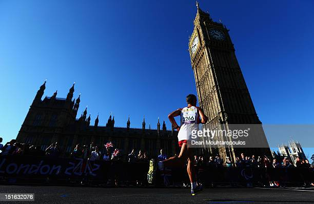 Alberto Laso Suarez of Spain competes near The Houses of Parialment and goes on to win the Men's T12 Marathon on day 11 of the London 2012 Paralympic...