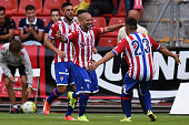 Alberto Lora Ramos of Sporting Gijon celebrates after scoring his team's second goal during the preseason friendly match between Real Sporting de...