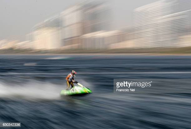 Alberto Monti of Italy race in the Ski Division GP1 final during the Aquabike Class Pro Circuit World Championships Grand Prix of Sharjah at Khalid...