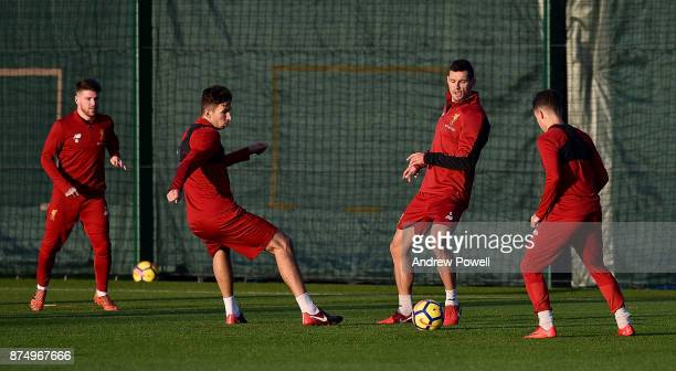 Alberto Moreno Marko Grujic and Dejan Lovren of Liverpool during a training session at Melwood Training Ground on November 16 2017 in Liverpool...