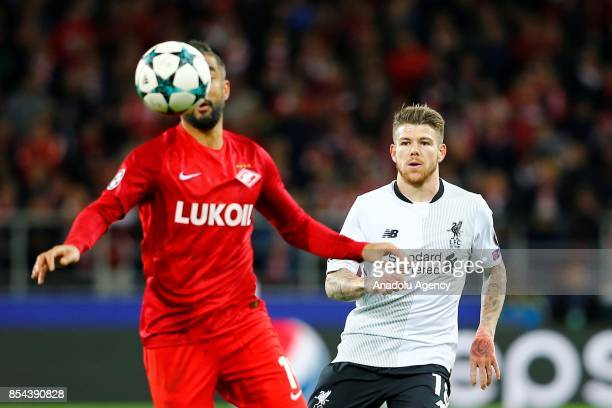 Alberto Moreno of Liverpool and Aleksandr Samedov of Spartak Moscow in action during the UEFA Champions League match between Spartak Moscow and...