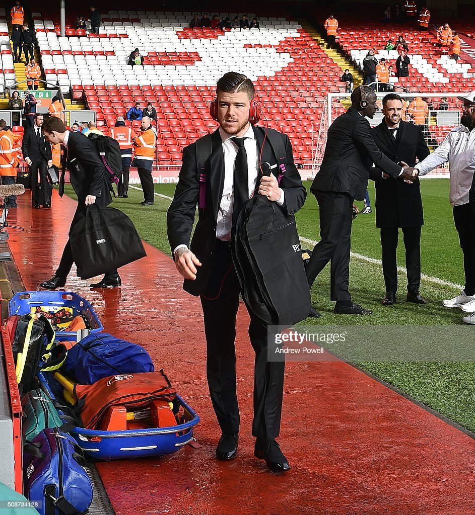 Alberto Moreno of Liverpool arrives before the Barclays Premier League match between Liverpool and Sunderland at Anfield on February 6, 2016 in Liverpool, England.