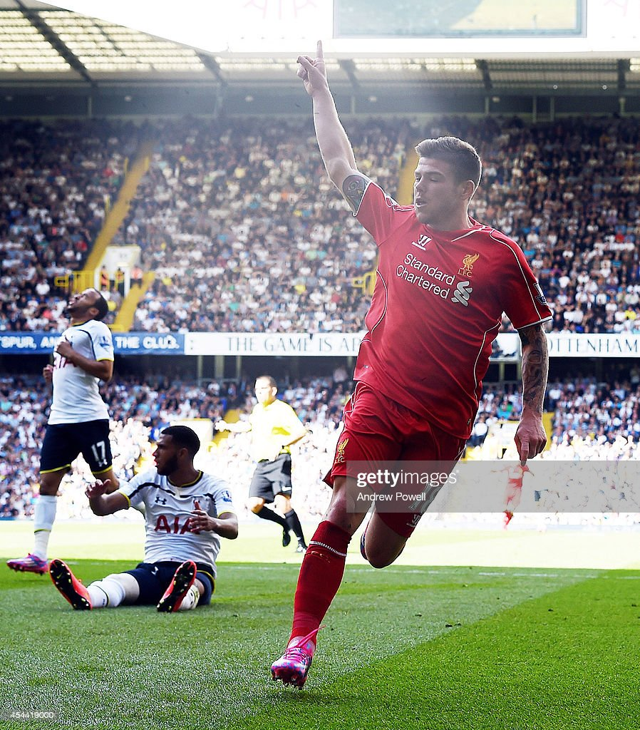 Alberto Moreno of Liverpool celebrates after scoring his first goal during the Barclays Premier League match between Tottenham Hotspur and Liverpool at White Hart Lane on August 31, 2014 in London, England.