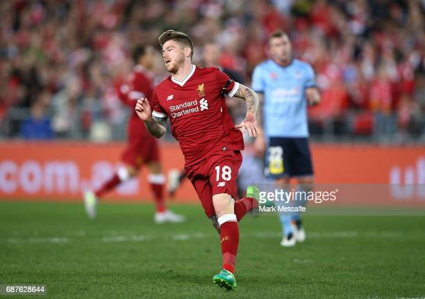 Alberto Moreno of Liverpool celebrates scoring a goal during the International Friendly match between Sydney FC and Liverpool FC at ANZ Stadium on...