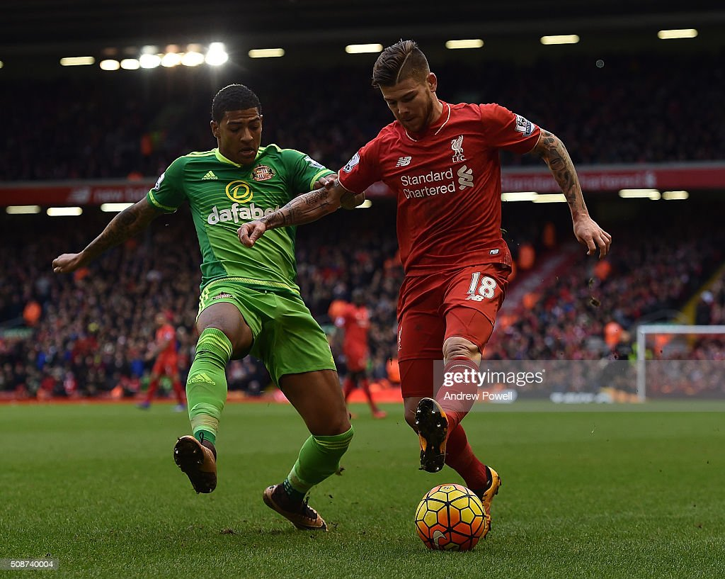 Alberto Moreno of Liverpool competes with <a gi-track='captionPersonalityLinkClicked' href=/galleries/search?phrase=Patrick+van+Aanholt&family=editorial&specificpeople=3542425 ng-click='$event.stopPropagation()'>Patrick van Aanholt</a> of Sunderland during the Barclays Premier League match between Liverpool and Sunderland at Anfield on February 6, 2016 in Liverpool, England.