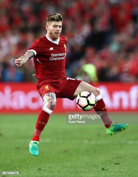 Alberto Moreno of Liverpool controls the ball during the International Friendly match between Sydney FC and Liverpool FC at ANZ Stadium on May 24...