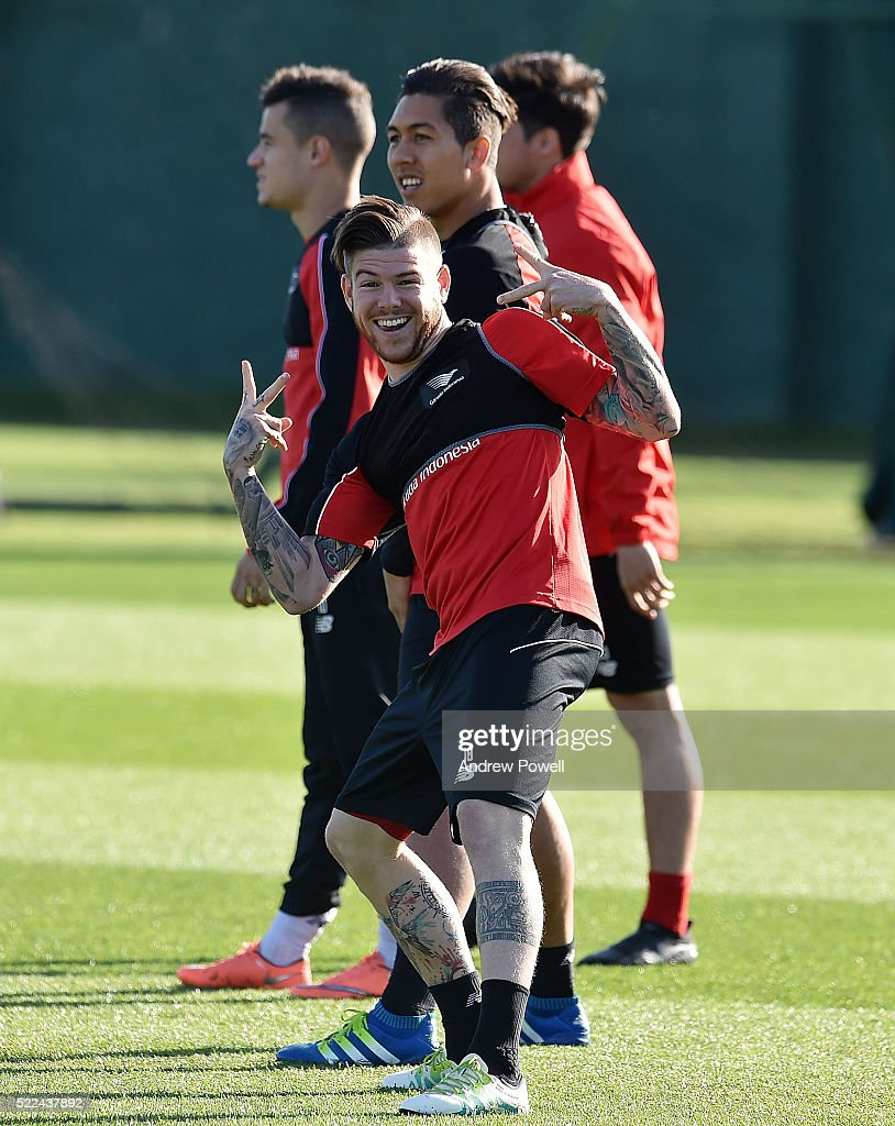 Alberto Moreno of Liverpool during a training session at Melwood Training Ground on April 19, 2016 in Liverpool, England.
