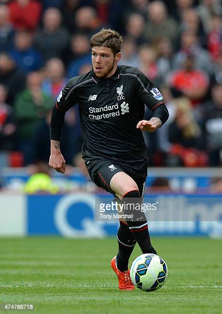 Alberto Moreno of Liverpool during the Barclays Premier League match between Stoke City and Liverpool at Britannia Stadium on May 24 2015 in Stoke on...