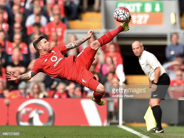 Alberto Moreno of Liverpool during the Barclays Premier League match between Liverpool and Aston Villa on September 26 2015 in Liverpool United...
