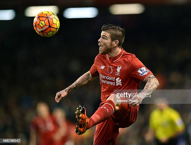 Alberto Moreno of Liverpool during the Barclays Premier League match between Liverpool and Crystal Palace at Anfield on November 8 2015 in Liverpool...