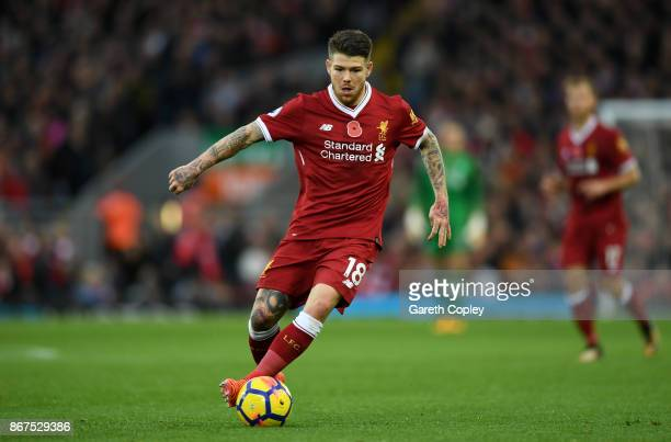 Alberto Moreno of Liverpool during the Premier League match between Liverpool and Huddersfield Town at Anfield on October 28 2017 in Liverpool England