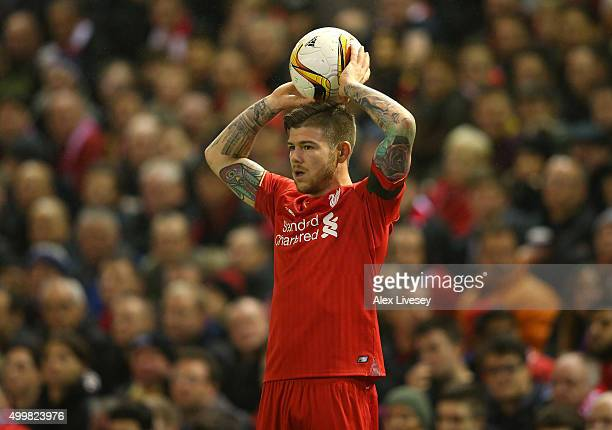 Alberto Moreno of Liverpool FC during the UEFA Europa League match between Liverpool FC and FC Girondins de Bordeaux at Anfield on November 26 2015...