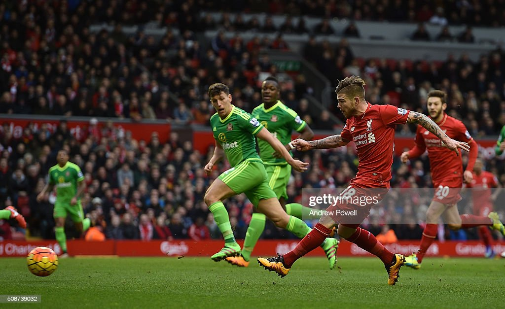 Alberto Moreno of Liverpool has a shot at goal during the Barclays Premier League match between Liverpool and Sunderland at Anfield on February 6, 2016 in Liverpool, England.