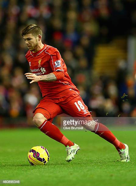 Alberto Moreno of Liverpool in action during the Barclays Premier League match between Liverpool and Swansea City at Anfield on December 29 2014 in...
