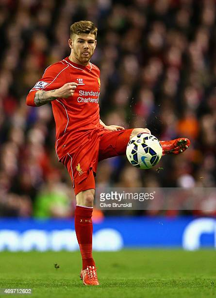 Alberto Moreno of Liverpool in action during the Barclays Premier League match between Liverpool and Newcastle United at Anfield on April 13 2015 in...