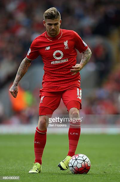 Alberto Moreno of Liverpool in action during the Barclays Premier League match between Liverpool and Aston Villa on September 26 2015 in Liverpool...