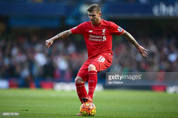 Alberto Moreno of Liverpool in action during the Barclays Premier League match between Chelsea and Liverpool at Stamford Bridge on October 31 2015 in...