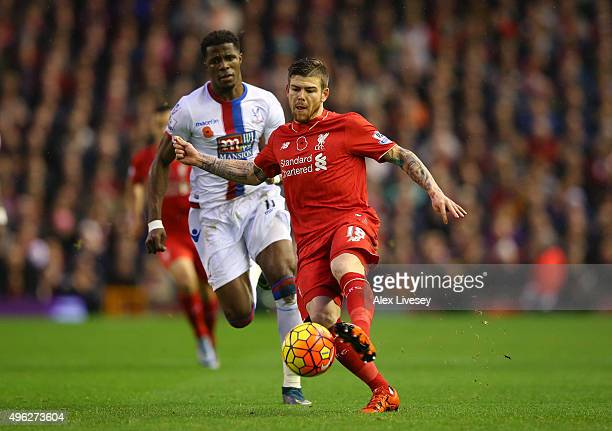 Alberto Moreno of Liverpool in action during the Barclays Premier League match between Liverpool and Crystal Palace at Anfield on November 8 2015 in...