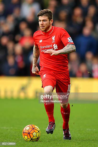 Alberto Moreno of Liverpool in action during the Barclays Premier League match between Watford and Liverpool at Vicarage Road on December 20 2015 in...